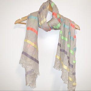 J.Crew oversized off white & stripe scarf & sarong